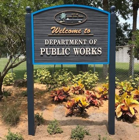 Photo of new public works sign