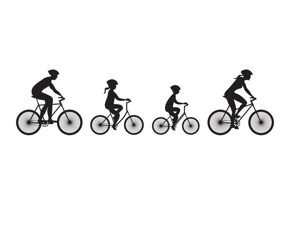 silhouette-of-family-on-bicycles