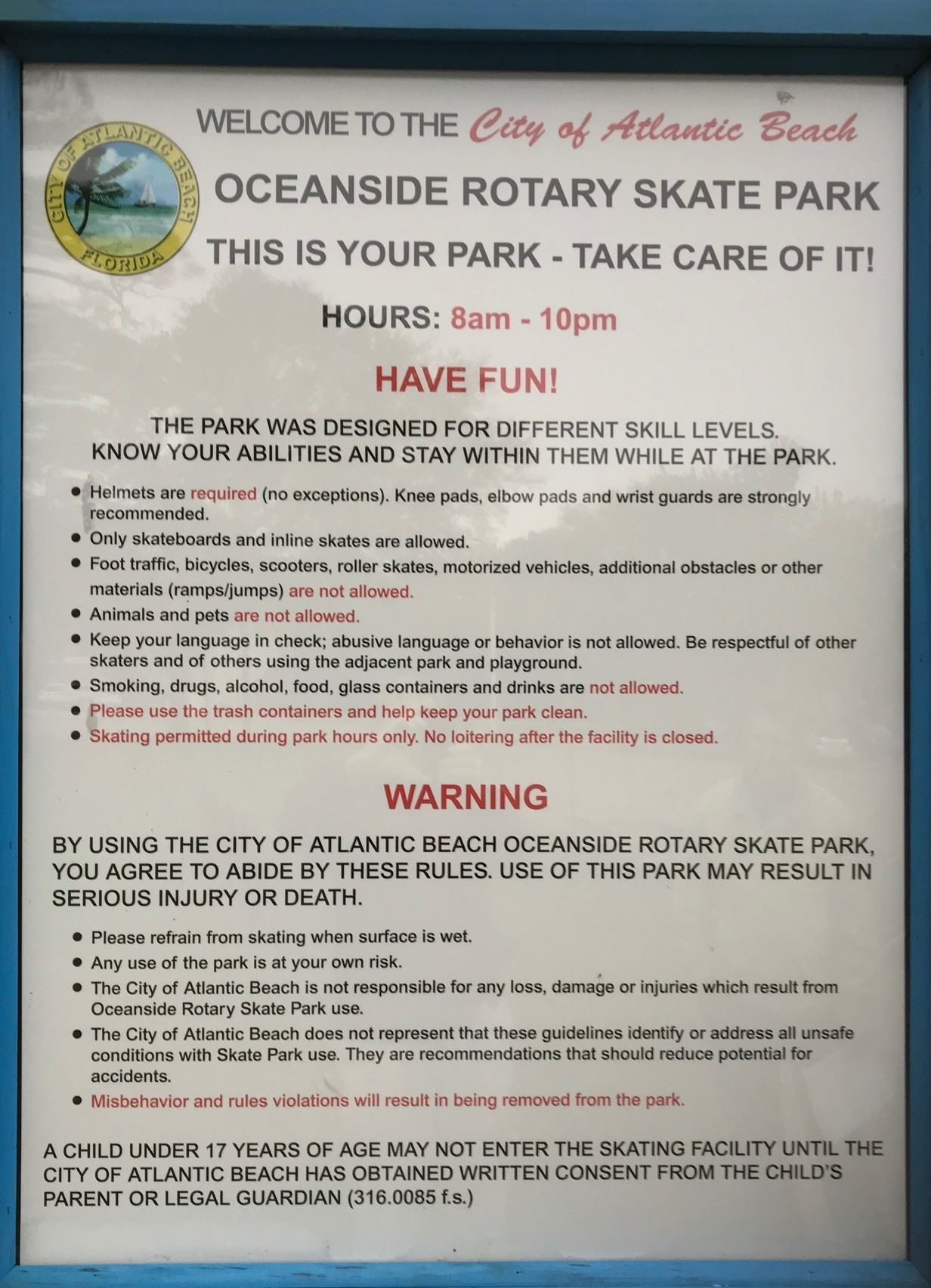 Photo of sign listing the skate park's rules Opens in new window