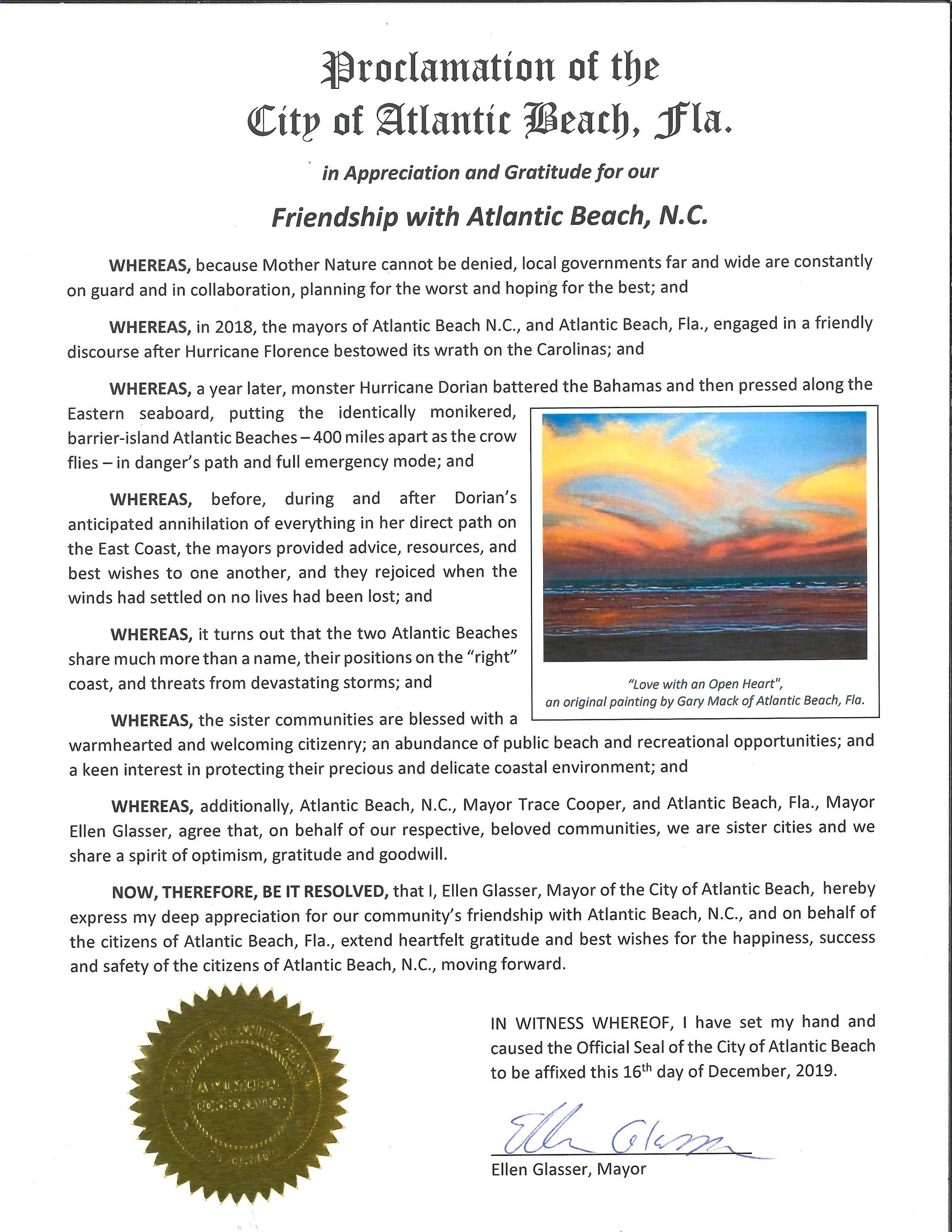 Proclamation - Friendship with Atlantic Beach NC